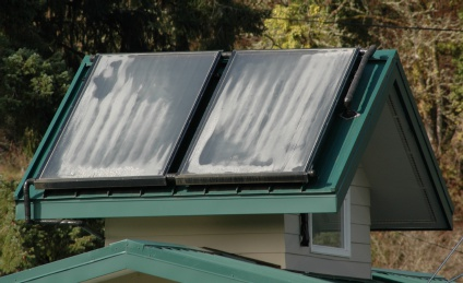 solar thermal panals on the roof of the house